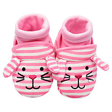 Buy Baby Joule Nipper Mouse Stripe Slippers, Pink/White Online at johnlewis.com