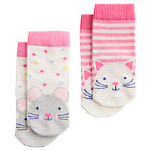 Buy Baby Joule Neat Feet Cat and Mouse Socks, Pack of 2, Pink/Multi Online at johnlewis.com