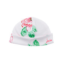 Buy Baby Joule Reversible Floral Stripe Bonnet Hat, Pink/White Online at johnlewis.com