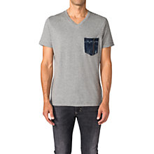 Buy Diesel Baskin Denim Pocket T-Shirt, Grey Marl Online at johnlewis.com