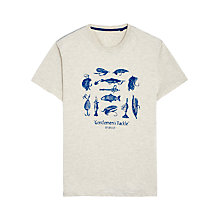 Buy Joules Harborough Fishing Print T-Shirt, Cream Online at johnlewis.com