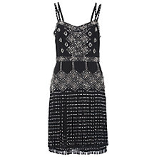 Buy French Connection Diamond Fringe Stripe Dress, Black Online at johnlewis.com