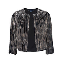 Buy French Connection Diamond Fringe Jacket, Black Online at johnlewis.com