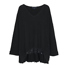 Buy French Connection Arrow Crepe Jumper, Black Online at johnlewis.com