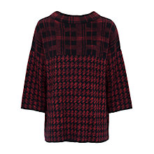 Buy French Connection Dogstooth Jumper, Riot Red/Black Online at johnlewis.com