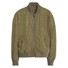 Buy Mango Aviator Bomber Jacket, Beige/Khaki Online at johnlewis.com