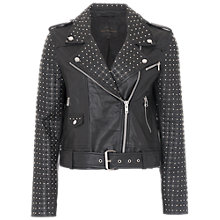 Buy French Connection Chaos Leather Biker Jacket, Black Online at johnlewis.com