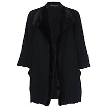 Buy French Connection Whistler Faux Fur Detail Oversized Cardigan, Black Online at johnlewis.com