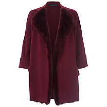 Buy French Connection Whistler Faux Fur Cardigan, Biker Berry Online at johnlewis.com