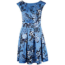 Buy Closet Floral V-Back Box Pleat Dress, Blue Online at johnlewis.com