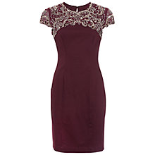 Buy French Connection Embellished Aspen Shift Dress, Biker Berry/Bronze Online at johnlewis.com