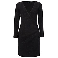 Buy French Connection Sparkle Nights Wrap Dress, Black Online at johnlewis.com