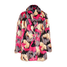 Buy French Connection Stardust Faux Fur Wrapover Coat, Multi Online at johnlewis.com