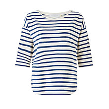Buy Collection WEEKEND by John Lewis Scallop Stripe Top, Ivory/Navy Online at johnlewis.com