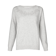 Buy Collection WEEKEND by John Lewis Embroidered Sweatshirt, Grey Marl Online at johnlewis.com