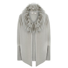 Buy Oasis Faux Fur Trim Drape Cardigan Online at johnlewis.com
