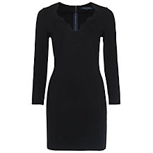 Buy French Connection Lula Stretch Long Sleeve Dress, Black Online at johnlewis.com