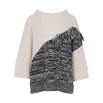 French Connection Fringed Jumper, Classic Cream/Black