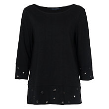 Buy French Connection Ele Eyelette Embellished Top, Black Online at johnlewis.com