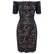 Buy Warehouse Lace Bardot Dress, Blue Online at johnlewis.com