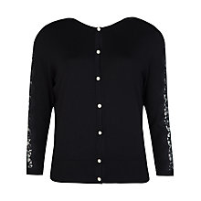 Buy Ted Baker Ginahh Lace Detail Cardigan, Black Online at johnlewis.com