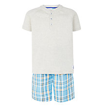 Buy John Lewis Boys' Check Shortie Pyjamas, Aqua Online at johnlewis.com