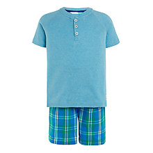 Buy John Lewis Boys' Check Shortie Pyjamas, Blue Online at johnlewis.com