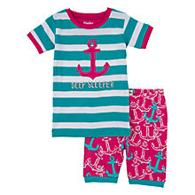 Buy Hatley Girls' Anchors Nautical Shortie Pyjamas, Blue/Pink Online at johnlewis.com