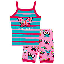Buy Hatley Girls' Butterfly Vest Shortie Pyjamas, Blue/Pink Online at johnlewis.com
