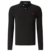 Buy Polo Ralph Lauren Slim Fit Long Sleeve Polo Shirt, Polo Black Online at johnlewis.com