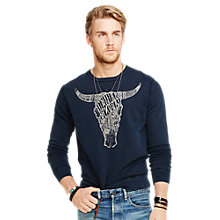 Buy Denim & Supply Ralph Lauren Crew Neck Bull Sweatshirt, Indigo Combo Online at johnlewis.com