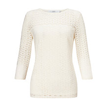 Buy John Lewis Lola Lace Three Quarter Sleeve Top, Cream Online at johnlewis.com
