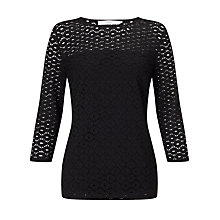 Buy John Lewis Lola Lace Three Quarter Sleeve Top, Black Online at johnlewis.com