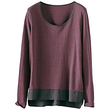 Buy Poetry Striped Jersey Top, Berry/Grey Online at johnlewis.com