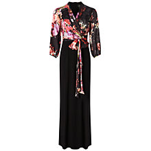 Buy Adrianna Papell Gathered Sleeve Jumpsuit, Black/Multi Online at johnlewis.com
