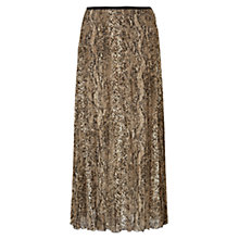 Buy East Snake Print Metallic Pleat Skirt, Gold Online at johnlewis.com