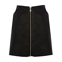 Buy Warehouse Faux Leather Zip Skirt, Black Online at johnlewis.com