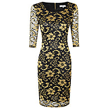 Buy True Decadence Lace Overlay Dress, Black/Gold Online at johnlewis.com