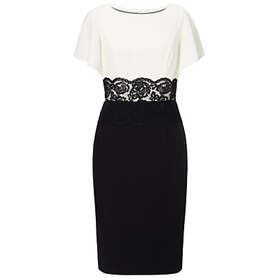 Adrianna Papell Flutter Sleeve Lace Midriff Dress, Ivory/Black