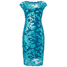Buy Adrianna Papell Illusion Sequin Lace Cocktail Dress, Turkish Blue Online at johnlewis.com