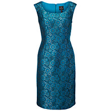 Buy Adrianna Papell Extended Shoulder Jacquard Sheath Dress, Teal Crush Online at johnlewis.com