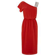 Buy Warehouse One Shoulder Dress, Bright Red Online at johnlewis.com