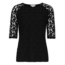 Buy Reiss Magnolia Lace T-Shirt, Black Online at johnlewis.com