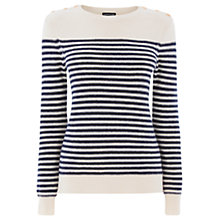 Buy Warehouse Striped Button Shoulder Jumper, Blue Multi Online at johnlewis.com