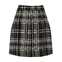 Buy Warehouse Pattern Check Pleated Skirt, Black Online at johnlewis.com