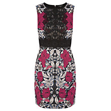 Buy Warehouse Floral Print Lace Panel Shift Dress, Pink Multi Online at johnlewis.com