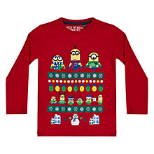 Buy Minions Boys' Christmas Fair Isle Long Sleeve T-Shirt, Red Online at johnlewis.com