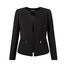 Buy Precis Petite Collarless Zip Detail Jacket, Black Online at johnlewis.com