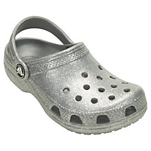 Buy Crocs Children's Classic Sparkle Clogs, Silver Online at johnlewis.com