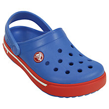 Buy Crocs Children's Crocband Clogs, Blue/Red Online at johnlewis.com